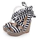 ราคาถูก รองเท้าแตะผู้หญิง-สำหรับผู้หญิง รองเท้าแตะ รองเท้าส้นตึก ผ้าใบ ความสะดวกสบาย ฤดูร้อน สีดำ / แดง