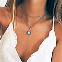 billiga Moderingar-Dam Opal Hänge Halsband Charm Halsband Multi lager Vintage Stil Päron damer Vintage Mode Legering Silver 34.5 cm Halsband Smycken 1st Till Fest / afton Gåva