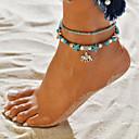 זול תכשיטי גוף-בגדי ריקוד נשים טורקיז צמיד לקרסול שכבות מרובות חרוזים פיל כּוֹכַב יָם נשים וינטאג' מקרי / ספורטיבי אתני בוהו שרף תכשיט לקרסול תכשיטים כחול עבור יומי רחוב ליציאה