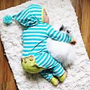 billige BabyGutterdrakter-Baby Gutt Aktiv / Grunnleggende Daglig Stripet Stripe Langermet Bomull Endelt Blå
