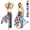 Χαμηλού Κόστους Στολές της παλιάς εποχής-Γυναικεία Ψηλοκάβαλο Υψηλός διαχωρισμός Βράκα Παντελόνι για γιόγκα Φλοράλ Σκούρο μπλε Zumba Χορού Fitness Παντελόνια Φούστες Ρούχα Γυμναστικής Ελαφρύ Αναπνέει Ύγρανση Moale Ανελαστικό Φαρδιά