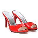 baratos Sandálias Femininas-Mulheres Sandálias Salto Agulha Couro Ecológico Verão Branco / Vermelho