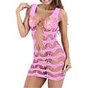 povoljno Egzotična plesna odjeća-Žene Mrežica Seksi bodi Noćno rublje Žakard Blushing Pink Bijela Fuksija One-Size