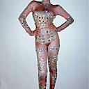 povoljno Egzotična plesna odjeća-Egzotična plesna odjeća Kombinezoni za izlaske / Klubska nošnja Žene Seksi blagdanski kostimi Spandex Nabori / Kristali / Rhinestones Dugih rukava Hula-hopke / Onesie