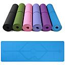 ราคาถูก โยคะ-เสื่อโยคะ 183*61*0.6 cm เป็นมิตรกับสิ่งแวดล้อม มัลติฟังก์ชั่ ป้องกันการลื่น TPE ตำแหน่งบรรทัด สำหรับ โยคะ Pilates ฟิตเนส สีดำ ม่วง สีม่วงเข้ม