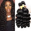 billige Hairextension med naturlig farge-4 pakker Peruviansk hår Løse bølger Ekte hår Ubehandlet Menneskehår Menneskehår Vevet Forlengere Bundle Hair 8-28 tommers Svart Naturlig Farge Hårvever med menneskehår Myk Silkete Til fargede kvinner