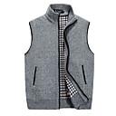 ราคาถูก เมาส์-สำหรับผู้ชาย ทุกวัน พื้นฐาน สีพื้น เสื้อไม่มีแขน ปกติ เสื้อกั๊ก เสื้อกันหนาวจัมเปอร์, คอแสตนด์ ตก สีดำ / สีน้ำตาลอ่อน / เทาอ่อน M / L / XL