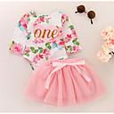 Χαμηλού Κόστους Παιδικά Αξεσουάρ Κεφαλής-Μωρό Κοριτσίστικα Βασικό / Γλυκός Φλοράλ Στάμπα Μακρυμάνικο Βαμβάκι Φόρεμα Ανθισμένο Ροζ