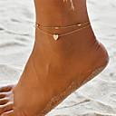povoljno Naušnice-Žene Kratka čarapa Gležanj Narukvica nakit za noge Više slojeva Zavrnuto Joga Srce Poslastica dame Jednostavan Boemski stil Moda Kratka čarapa Jewelry Zlato / Pink Za Dar Praznik