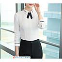 billige Moteøreringer-Skjortekrage Store størrelser Skjorte Dame - Ensfarget, Sløyfe / Lapper Grunnleggende Arbeid Beige