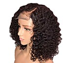 Χαμηλού Κόστους Εξτένσιος μαλλιών με φυσικό χρώμα-Συνθετικές Περούκες Συνθετικές μπροστινές περούκες δαντέλας Σγουρά Κούρεμα με φιλάρισμα Πλευρικό μέρος Δαντέλα Μπροστά Περούκα Κοντό Μαύρο Σκούρο Καφέ Συνθετικά μαλλιά 14 inch Γυναικεία