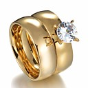 billige Ringer for Par-Par Parringer 2pcs Gull Rustfritt stål Rund damer Stilfull Enkel Bryllup Gave Smykker Klassisk Solitaire Krone