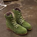povoljno Tote torbe-Žene Čizme Fashion Boots Ravna potpetica Okrugli Toe Brušena koža Čizme gležnjače / do gležnja Jesen zima Crn / Zelen / Crvena