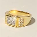 Χαμηλού Κόστους Αντρικά Δαχτυλίδια-Ανδρικά Δαχτυλίδι 1pc Χρυσό Ορείχαλκος Προσομειωμένο διαμάντι 24K Gold Plated Τετράγωνο Κλασσικό Γιορτή Μοντέρνα Γάμου Επίσημο Κοσμήματα Κλασσικό Κομψό Πασιέντζα Πιστεύω Απίθανο