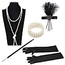 cheap Historical & Vintage Costumes-The Great Gatsby Charleston Vintage 1920s Roaring Twenties Costume Accessory Sets Flapper Headband Women's Feather Costume Black / Golden+Black / Black / White Vintage Cosplay Party Prom / Gloves