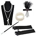 povoljno Stare svjetske nošnje-The Great Gatsby Čarlston Vintage 1920s Vruće dvadesete Setovi dodataka za kostime Traka za kosu u stilu 20-ih Žene Kostim Crn / Zlatni + crna / Black / White Vintage Cosplay Party Prom / Rukavice