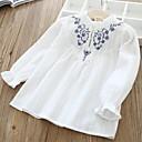 baratos Vestidos para Meninas-Infantil Para Meninas Activo Estampado Manga Longa Camisa Branco