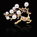 Χαμηλού Κόστους Swing Arm Φώτα-Γυναικεία Μαργαριτάρι γλυκού νερού Καρφίτσες Κομψό Ștrasuri Ελάφι Δημιουργικό Μοναδικό Μοντέρνα Κομψό Καρφίτσα Κοσμήματα Χρυσό Ασημί Για Καθημερινά Αργίες