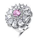 billige Statement Ringe-Dame Ring Belle Ring Kubisk Zirkonium 1pc Rosa Platin Belagt Hvitt gull damer Søt Mote Bryllup Karneval Smykker Stable Blomst