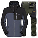 ราคาถูก ชุดกันลม,เสื้อขนแกะ,แจ็กเก็ตสำหรับปีนเขา-สำหรับผู้ชาย Hiking Jacket with Pants เสื้อกันหนาว Softshell กลางแจ้ง ฤดูใบไม้ร่วง ฤดูหนาว กันน้ำ กันลม ระบายอากาศ ความต้านทานการสึกหรอ เสื้อแจ็คเก็ต กางเกง ชุดออกกำลังกาย ผ้าขนแกะ ซอฟท์เซล Single