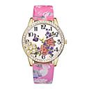 ราคาถูก ตุ้มหู-สำหรับผู้หญิง นาฬิกาข้อมือ นาฬิกาอิเล็กทรอนิกส์ (Quartz) หนัง ดำ / ฟ้า / แดง นาฬิกาใส่ลำลอง ระบบอนาล็อก สุภาพสตรี ดอกไม้ แฟชั่น - ฟ้า สีชมพู สีเขียวอ่อน