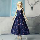 billiga Drinkware Tillbehör-Dollklänning Klänningar För Barbie Mode Blå Elastisk satin Spets Bommulstyg Klänning För Flicka Dockleksak