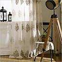 baratos Cortinas Transparentes-cortinas de pura sombra dois painéis quarto poliéster floral bordado