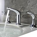 povoljno Slavine za umivaonik-Kupaonica Sudoper pipa - New Design Chrome Slavine s tri otvora Dvije ručke tri rupeBath Taps / Brass