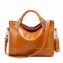 ราคาถูก กระเป๋า Totes-สำหรับผู้หญิง ซิป หนังวัว กรเป๋าหิ้ว สีดำ / สีน้ำตาล / ไวน์