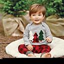 Χαμηλού Κόστους Σετ ρούχων για κορίτσια-Μωρό Αγορίστικα Βασικό Χριστούγεννα / Καθημερινά / Αργίες Στάμπα / Χριστούγεννα Κεντητό Μακρυμάνικο Κανονικό Βαμβάκι Σετ Ρούχων Γκρίζο / Νήπιο