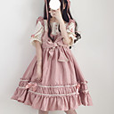 billige Lolitakjoler-Sweet Lolita søt stil Kjoler Jente Dame Japansk Cosplay-kostymer Svart / Rød / Rosa Helfarge Lapper Sløyfeknute Kronblad Kortermet Midi