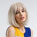 Χαμηλού Κόστους Συνθετικές περούκες χωρίς σκουφί-Συνθετικές Περούκες Ίσιο Kardashian Στυλ Κούρεμα καρέ Χωρίς κάλυμμα Περούκα Λευκή Άσπρο Συνθετικά μαλλιά 12 inch Γυναικεία Φυσική γραμμή των μαλλιών Λευκή Περούκα Μεσαίου Μήκους MAYSU