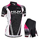 ราคาถูก ชุดเซทปั่นจักรยาน-Nuckily สำหรับผู้หญิง แขนสั้น Cycling Jersey with Shorts สีดำ ไล่โทนสี จักรยาน กางเกงขาสั้น เสื้อยืด แป้นสั้น กันน้ำ ระบายอากาศ Ultraviolet Resistant ซิปกันน้ำ แถบสะท้อนแสง กีฬา / Elastane / ขั้นสูง
