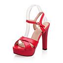 povoljno Cipele za latino plesove-Žene Sandale Udobne cipele Kockasta potpetica PU Proljeće Crvena / Pink / Bež