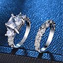 Χαμηλού Κόστους Δαχτυλίδια-Γυναικεία Δαχτυλίδι Σετ δαχτυλιδιών 2pcs Ασημί Χαλκός Επιμεταλλωμένο με Πλατίνα Προσομειωμένο διαμάντι Τέσσερα δόντια κυρίες Ρομαντικό Μοντέρνα Γάμου Πάρτι Κοσμήματα προσομοίωση 3