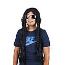 Χαμηλού Κόστους Πλεξούδες μαλλιών-Συνθετικές Περούκες Περούκες Στολών Σγουρά Πλεξίδα Περούκα πολύ μακριά Μαύρο Συνθετικά μαλλιά 28 inch Ανδρικά Στολές Ηρώων Πάρτι Μαλλιά κοτσίδα στεφάνη Μαύρο