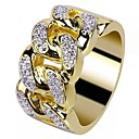 ราคาถูก แหวนผู้ชาย-สำหรับผู้ชาย แหวน Cubic Zirconia 1pc สีทอง ทองชุบ 18K ทองแดง พลอยเทียม รอบ Stylish เกี่ยวกับยุโรป อินเทรนด์ งานแต่งงาน เสื้อผ้าที่สวมไปงานเต้นรำสวมหน้ากาก เครื่องประดับ สไตล์ Creative เท่ห์