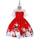 billiga Flickklänningar-Barn Småbarn Flickor Vintage Aktiv Jul Party Helgdag Tecknat Jul Kortärmad Knälång Klänning Rubinrött
