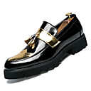ราคาถูก รองเท้ากีฬาสำหรับผู้ชาย-สำหรับผู้ชาย รองเท้าสบาย ๆ PU ตก ธุรกิจ รองเท้าส้นเตี้ยทำมาจากหนังและรองเท้าสวมแบบไม่มีเชือก สีทอง / สีดำ / สีเงิน