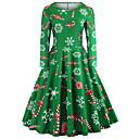 povoljno Santa odijela & Božićna haljina-Žene Izlasci Vintage Elegantno Pamuk Slim Swing kroj Haljina - Print, Geometrijski oblici Do koljena
