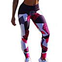 זול ביגוד כושר, ריצה ויוגה-בגדי ריקוד נשים Temel צועד - גיאומטרי / קולור בלוק, רשת מותניים גבוהים פול אודם M L XL