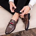 ราคาถูก รองเท้าแตะ & Loafersสำหรับผู้ชาย-สำหรับผู้ชาย รองเท้าอย่างเป็นทางการ หนังเทียม ตก รองเท้าส้นเตี้ยทำมาจากหนังและรองเท้าสวมแบบไม่มีเชือก สีดำ / สีน้ำตาล / งานแต่งงาน / พรรคและเย็น / งานแต่งงาน / พรรคและเย็น
