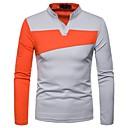 Χαμηλού Κόστους Αντρικά Oxford-Ανδρικά T-shirt / Polo Συνδυασμός Χρωμάτων Λαιμόκοψη V Μαύρο / Μακρυμάνικο