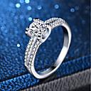 ราคาถูก แหวน-สำหรับผู้หญิง แหวน แหวน Micro Pave 1pc สีเงิน ทองแดง Platinum Plated เลียนแบบเพชร สี่แฉก สุภาพสตรี คลาสสิก โรแมนติก งานแต่งงาน การหมั้น เครื่องประดับ คลาสสิค จำลอง ความรัก น่ารัก