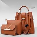 povoljno Komplet torbi-Žene PU Bag Setovi Kompleti za vrećice Jedna barva 3 kom Crn / Blushing Pink / Red