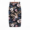 baratos Strass & Decorações-Mulheres Básico Para Noite Bodycon Saias - Floral Cintura Alta Preto L XL XXL / Delgado