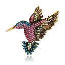 baratos Broches-Mulheres Broches Estilo vintage 3D Pássaro Animal senhoras Original Vintage Diário chique Strass Chapeado Dourado Broche Jóias Arco-Íris Para Festa de Noite Rua
