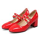 זול נעלי עקב לנשים-בגדי ריקוד נשים עקבים נעלי סירה עקב עבה עור פטנט סתיו שחור / בז' / אדום / יומי