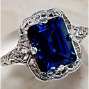 billige Motering-Par Ring Safir Syntetisk safir 1pc Lilla Blå Kobber Titanium Stål Kube damer Stilfull Klassisk Bryllup Fest Smykker Klassisk Elegant Solitaire