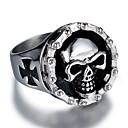 ราคาถูก แหวนผู้ชาย-สำหรับผู้ชาย แหวน 1pc สีเงิน Titanium Steel สแตนเลส รอบ ผิดปกติ Stylish วินเทจ Punk Street คลับ เครื่องประดับ สไตล์วินเทจ สไตล์ ข้าม Skull เท่ห์